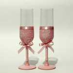 свадебные бокалы украшение кружевом